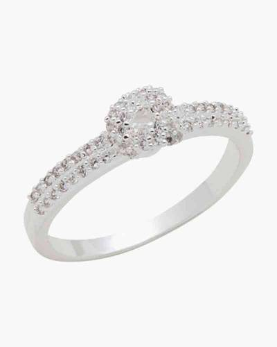Cubic Zirconia Double Pave Ring in Silver