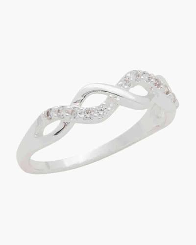 Open Weave Cubic Zirconia Ring in Silver