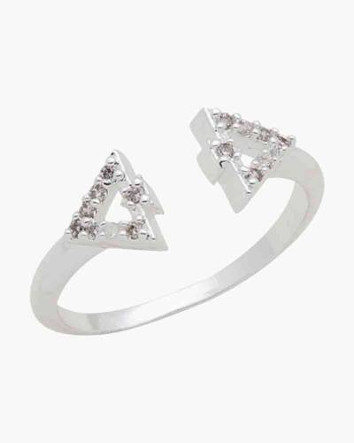 Cubic Zirconia Triangles Ring in Silver