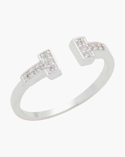 Cubic Zirconia T Ring in Silver