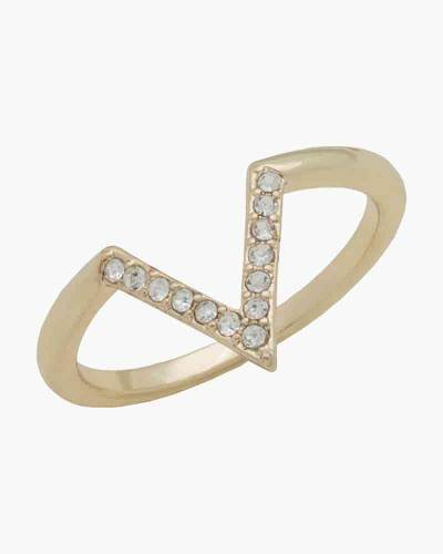 Gold Crystal V Layer Ring