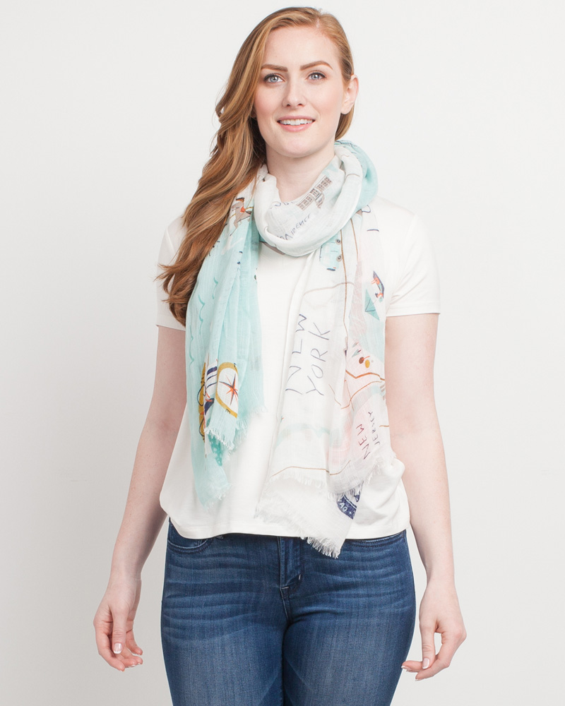Spartina 449 Map Scarf in Northeastern Harbors