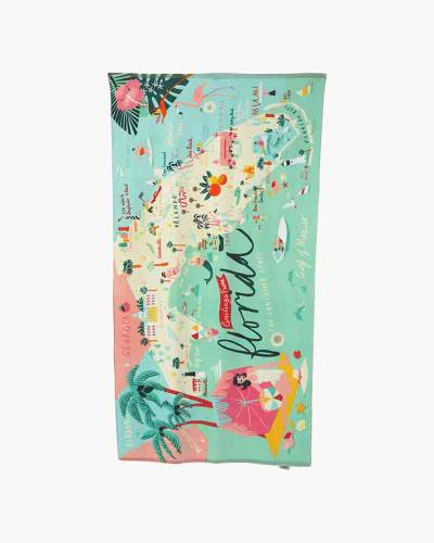 Florida Map Beach Towel