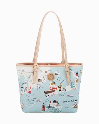 Small Map Tote with Zipper in Northeastern Harbors