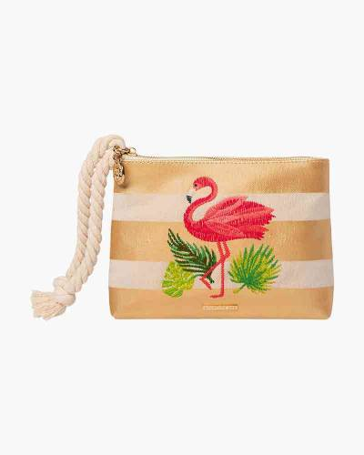 Gold Striped Flamingo Wristlet with Rope Strap
