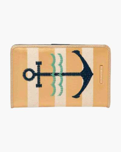 Gold Striped Anchor Folded Wallet