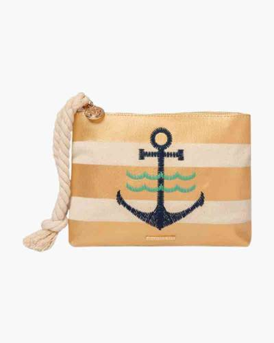 Gold Striped Anchor Wristlet with Rope Strap