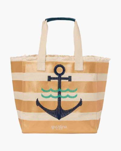 Gold Striped Anchor Tote