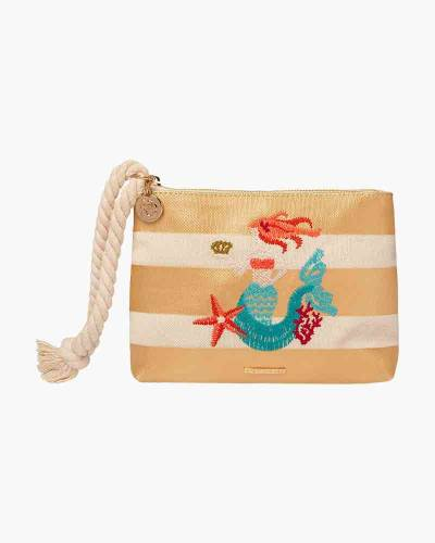 Gold Striped Mermaid Wristlet with Rope Strap