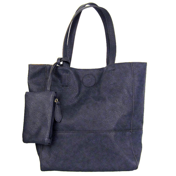 Joy Accessories Raw Edge Tote Handbag With Coinpurse in Indigo