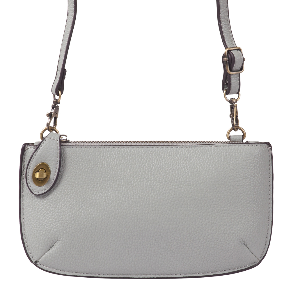 Joy Susan Accessories Convertible Crossbody Bag and Wristlet in Light Grey