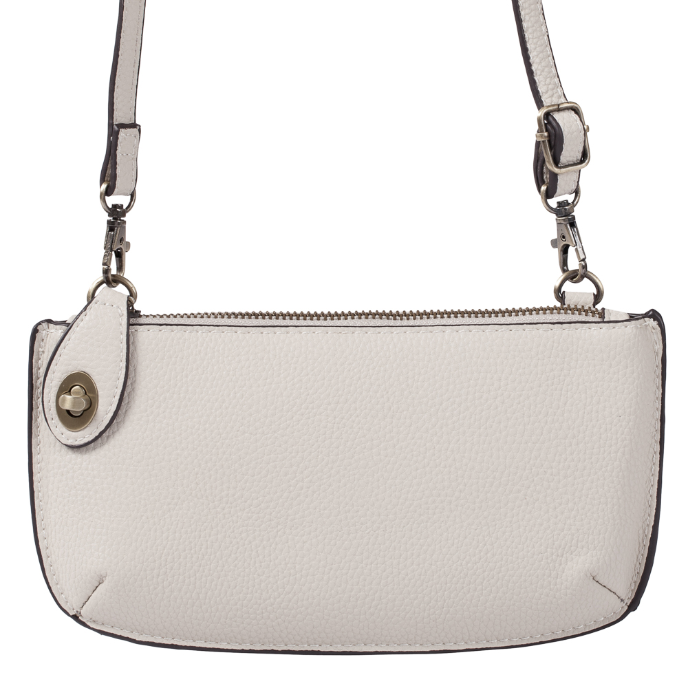 Joy Susan Accessories Convertible Crossbody Bag and Wristlet in Stone