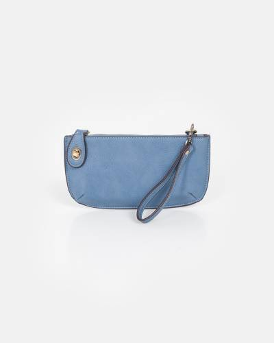 Mini Convertible Crossbody Bag and Wristlet in Metallic Powder Blue