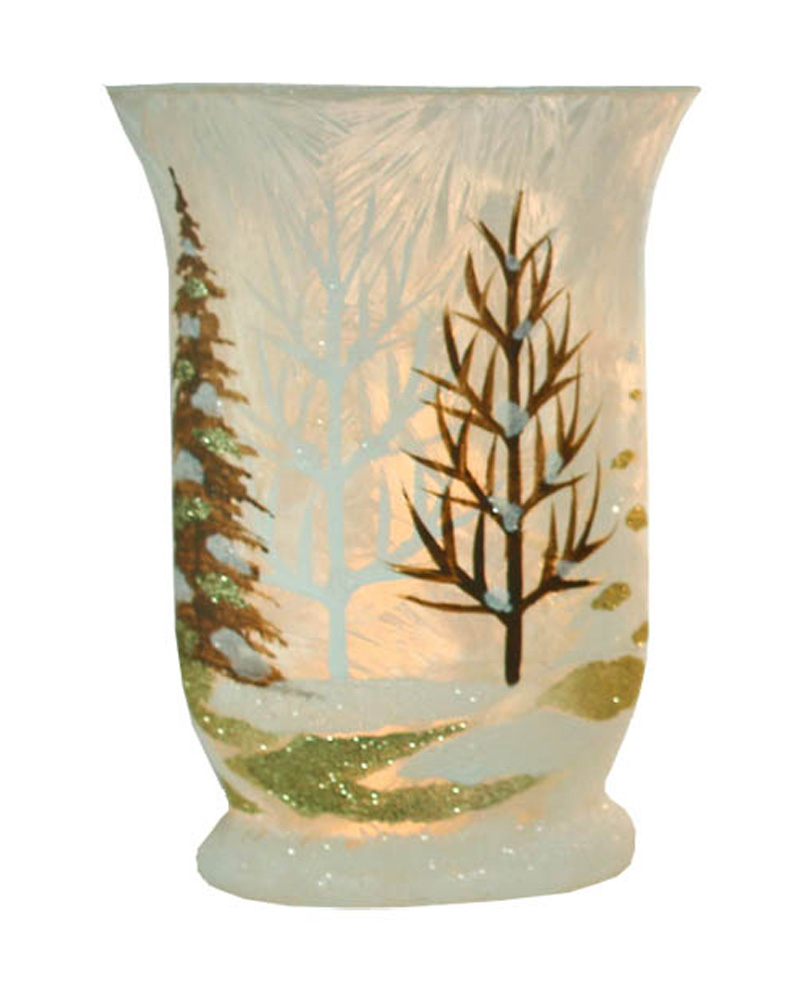 Stoney Creek Winter Scene Light-Up Hurricane Glass $17.99