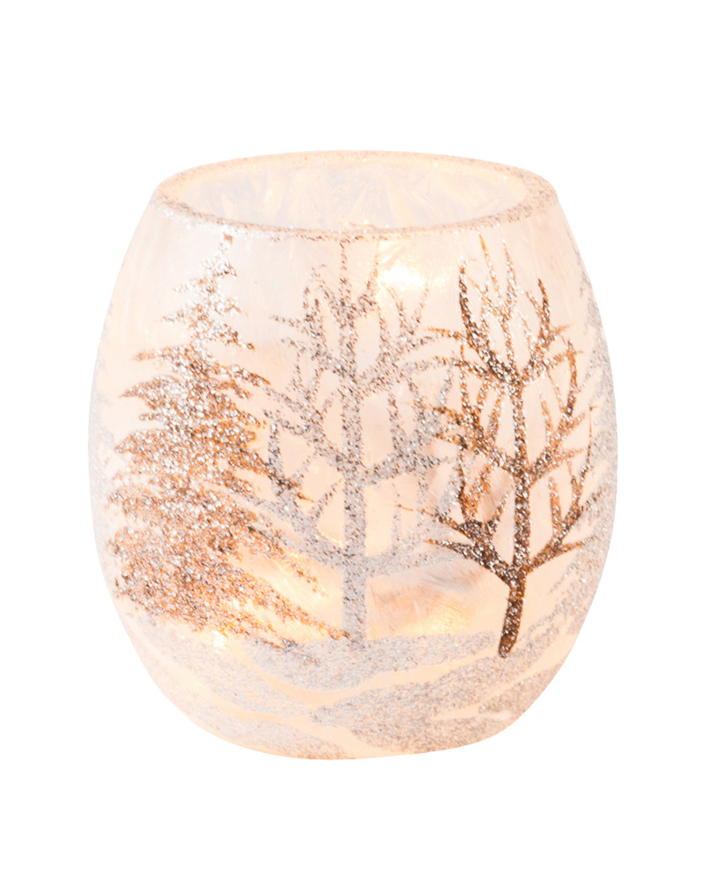 Stoney Creek Light-Up Silver and Gold Glitter Holiday Jar