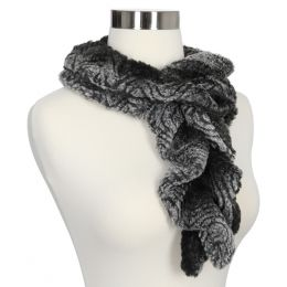 Lava Accessories Charcoal Faux Fur Ruffle Stretch Scarf