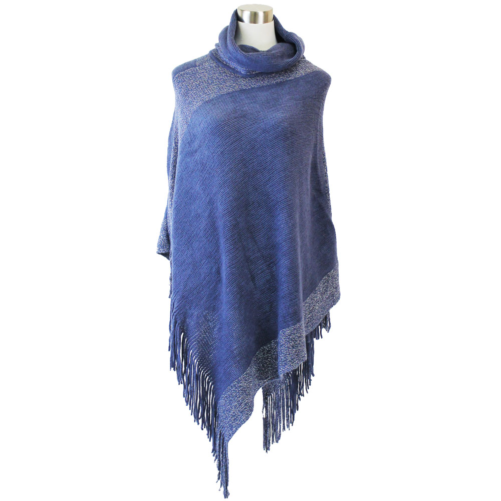 Lava Accessories Lurex Fringe Cowl Neck Poncho in Denim Blue