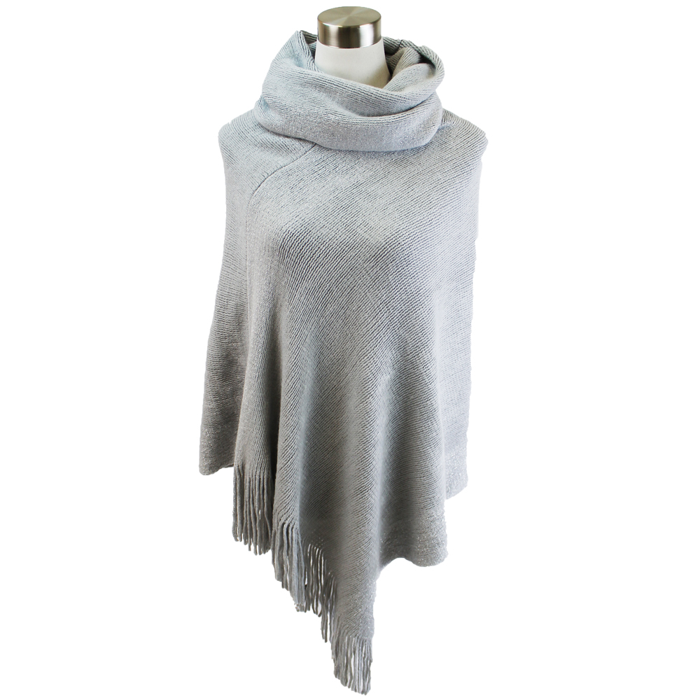 Lava Accessories Lurex Fringe Cowl Neck Poncho in Grey