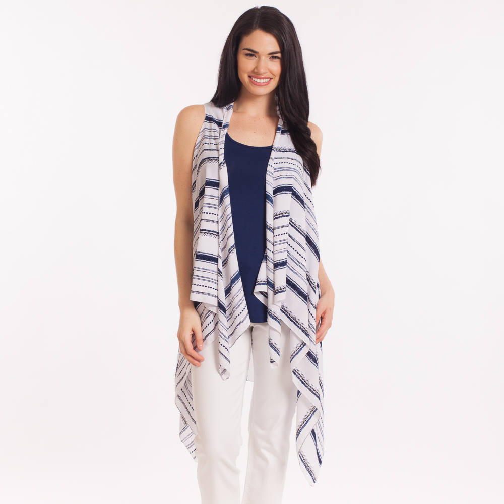 Lava Accessories Oversized Tassel Vest in Blue and White Stripe
