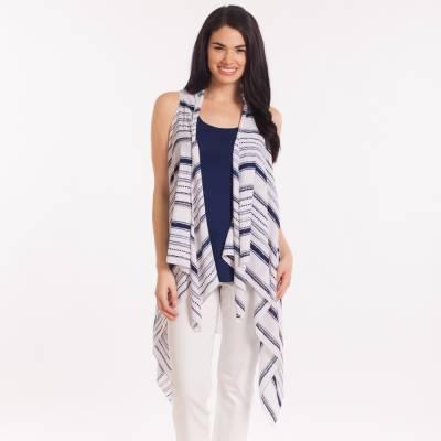 Oversized Tassel Scarf Vest in Blue and White Stripe
