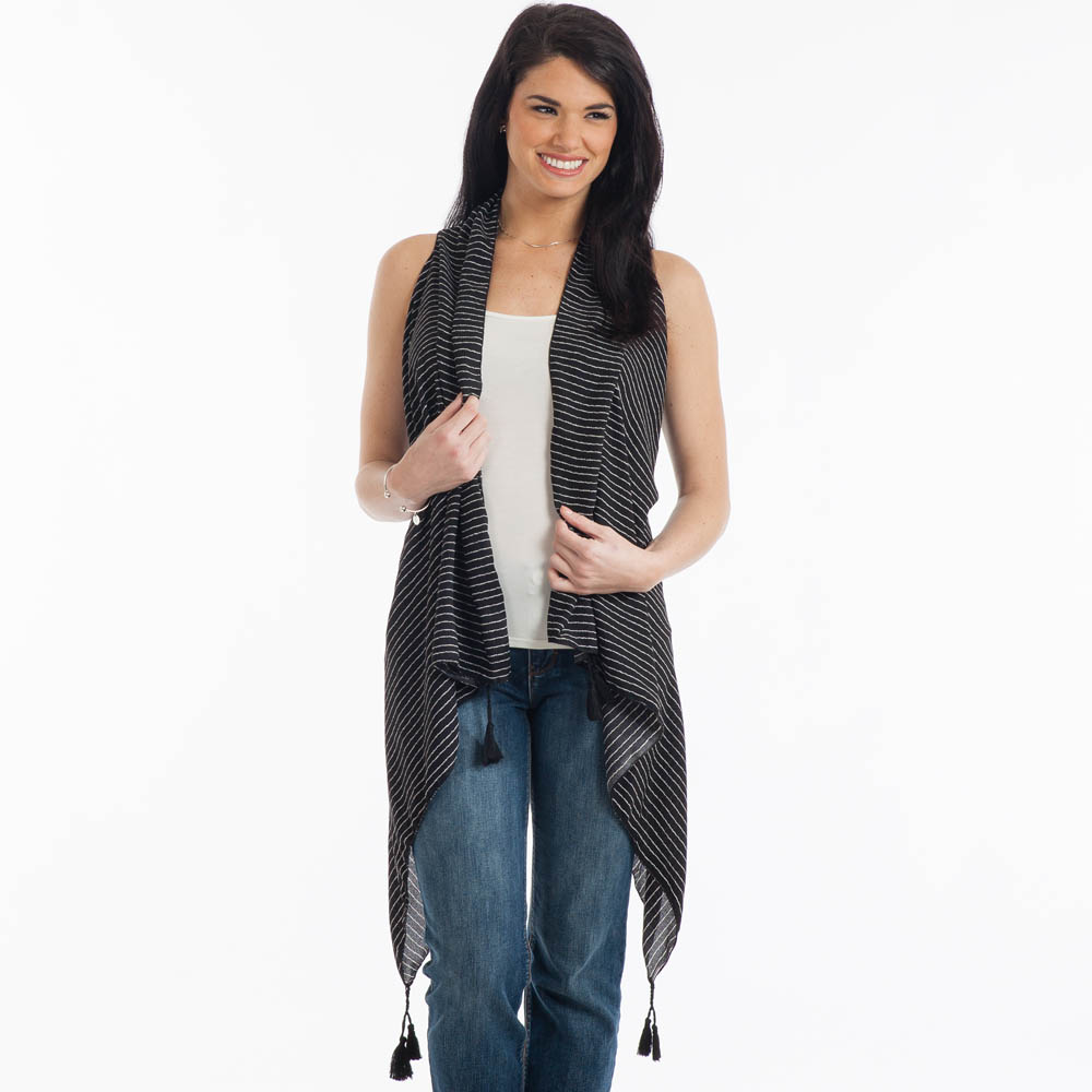 Lava Accessories Oversized Tassel Vest in Black and White Stripe