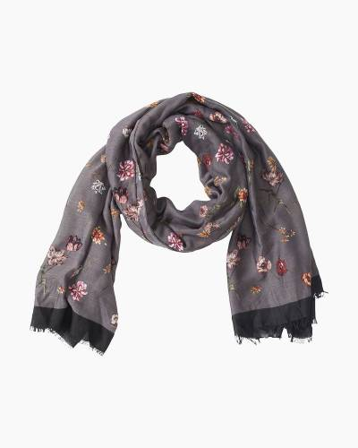 Lightweight Floral Scarf in Charcoal