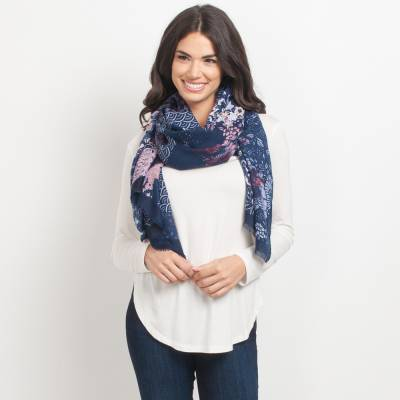 Abstract Navy Floral Scarf
