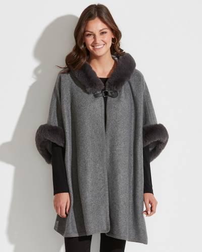 Exclusive Hooded Faux Fur Trim Poncho