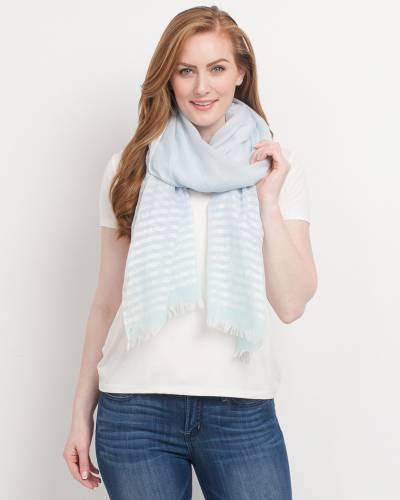 Metallic Stripe Scarf in Blue