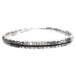 The Paper Store Silver Sister Bangle with Prayer Card