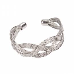The Paper Store Silver Braided Cuff Bracelet
