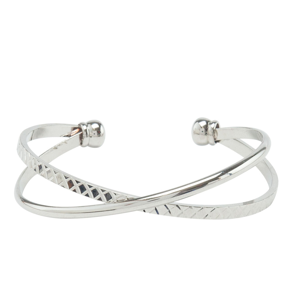 Mia and Tess Double-Textured Crossed Cuff in Silver