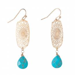 Mia and Tess Turquoise Stone Filigree Earrings