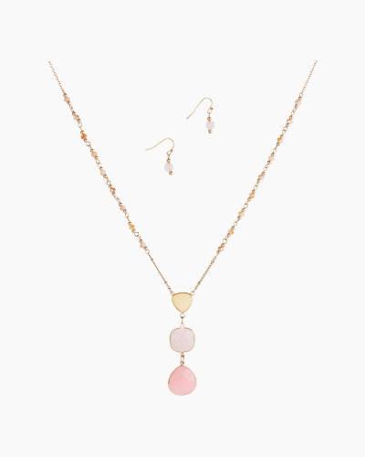 Long Triple-Stone Necklace in Rose Quartz