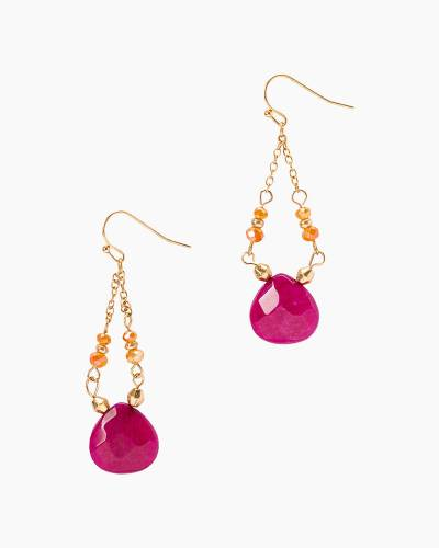 Stone Trapeze Earrings in Fuchsia