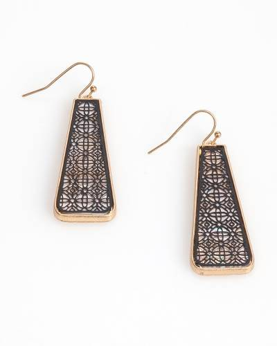 Exclusive Two-Tone Filigree Rectangle Earrings in Gold
