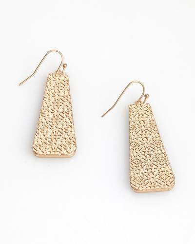 Exclusive Two-Tone Filigree Rectangle Earrings in Silver