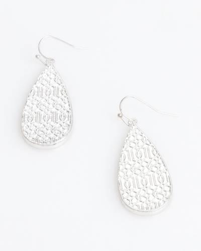 Two-Tone Filigree Teardrop Earrings in Silver