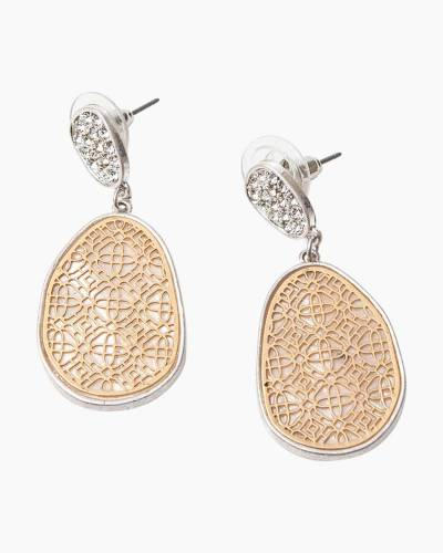 Two-Tone Mother of Pearl Filigree Earrings