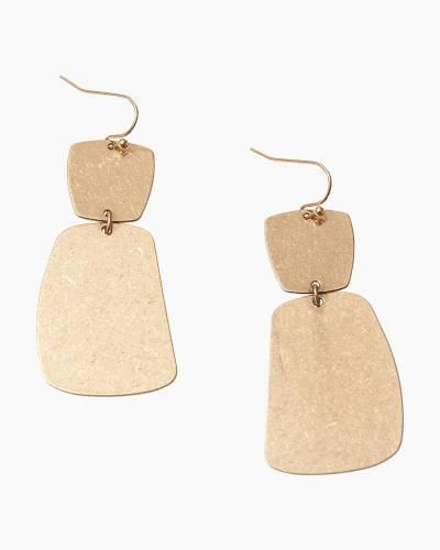 Exclusive Double Square Drop Earrings in Gold