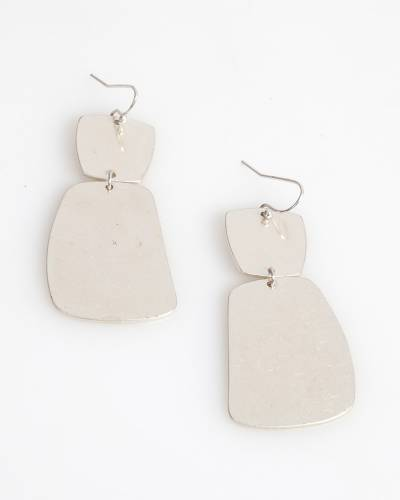 Exclusive Double Square Drop Earrings in Silver