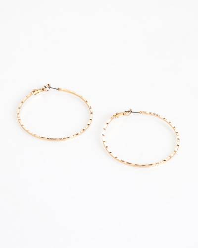 Hammered Hoop Earrings in Gold