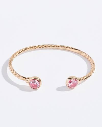 Pink CZ Twist Bangle in Gold