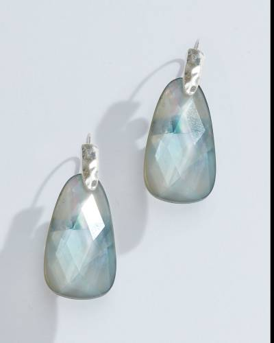 Exclusive Faceted Crystal Teardrop Earrings in Silver