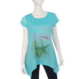 India Boutique Rhinestone Starfish Shark Bite Top