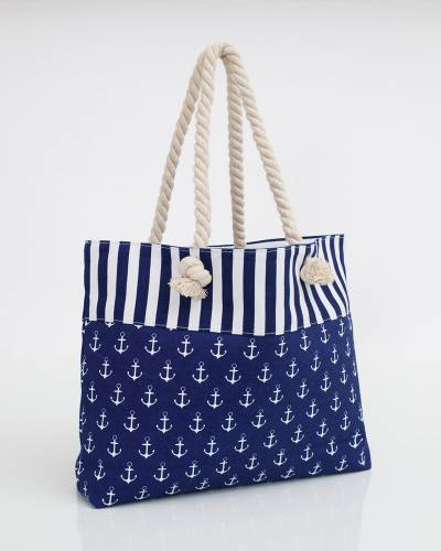 Anchor and Stripe Print Tote