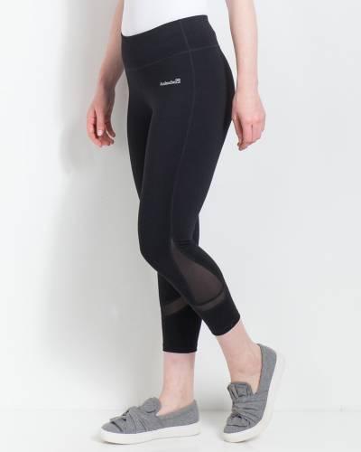 Mesh Panel Capri Leggings in Black