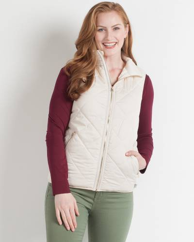 Ivory Quilted Puffer Vest