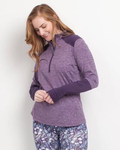 Quarter-Zip Pullover Top in Heather Purple