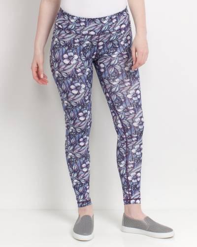Purple Floral Print Leggings